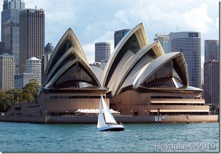 sailboat in front of opera house