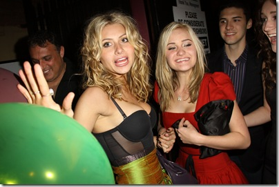 Aly and AJ Michalka at Wonderland Nightclub in Los Angeles