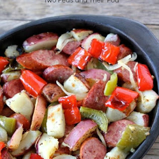 Turkey Smoked Sausage is baked with red potatoes, bell peppers, onions, and seasonings.