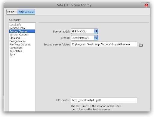 Define Testing Server in Dreamweaver For Drupal Themes