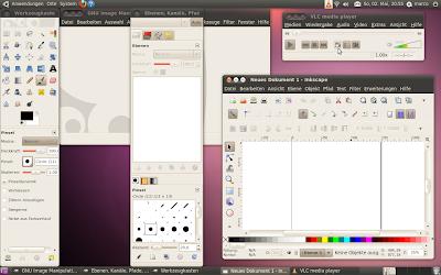 Ubunte-Linux 10.04 auf dem Laptop: VLC, Gimp, Inkscape