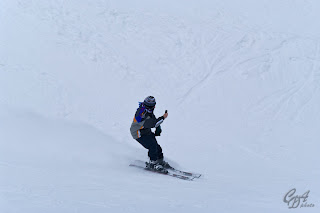 Filming skier
