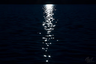 Full moon sparkles in the water