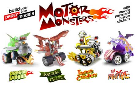 motor monsters papercraft book