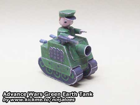 Advance Wars Papercraft Green Earth Tank
