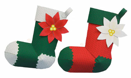 Christmast Tree Socks Ornament Papercraft