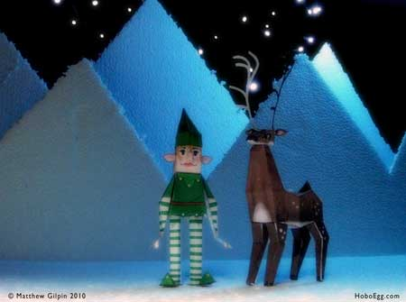 Christmas Elf and Reindeer Papercraft