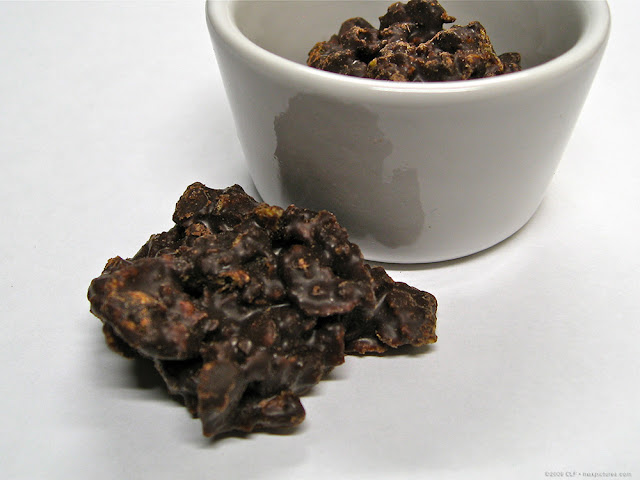 Chocolate-covered corn flakes, see a larger pic at maxpixpix on Picasa