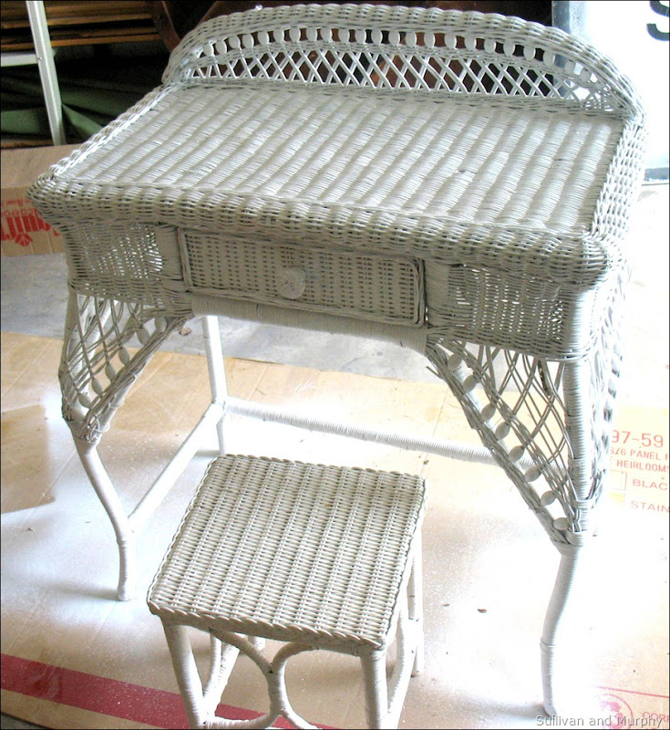 wicker makeup table