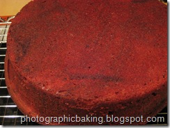 Close up of the red velvet cake