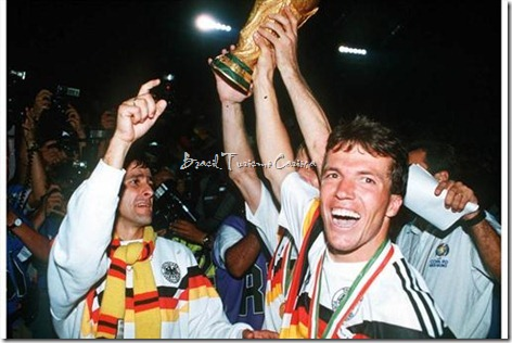 1990 FIFA World Cup Italy - Final Germany - Argentina 10 - German captain Lothar Matthaeus holds aloft the World Cuptrophy after their win