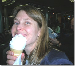 Kristi in airport with ice cream