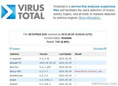 one antivirus triggered a positive result from a scan of 41 antivirus. - theprohack.com