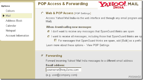Forward Yahoo Emails to way2sms