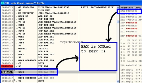 EAX is XORED/ZEROED :D - theprohack.com