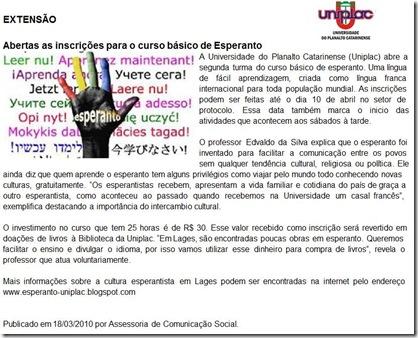 esperanto-uniplac 2010