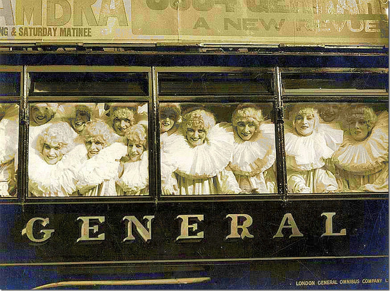 English 'Pierrettes' with wigs and white collars on a bus collecting money for the wounded soldiers of World War I, 1915
