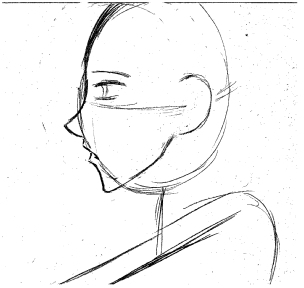 My drawings normally start with a basic frame with a horizontal and vertical line through the head to keep things aligned. This is a generic profile that I use for most of male characters starting out.