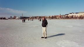 Walking on the ice, Helsinki Harbour