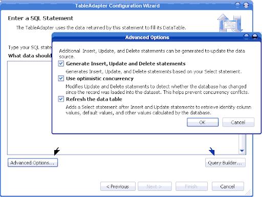 Asistente de configuración del TableAdapter.