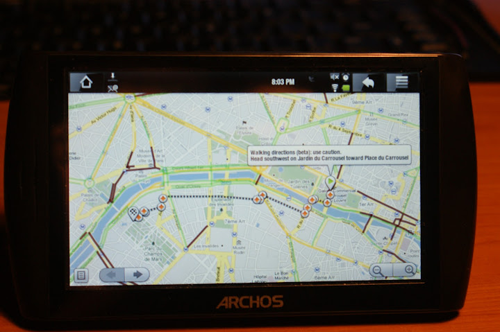 Archos 5 Internet Tablet with Android and Google Maps Walking Directions