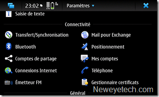 Menu paramètres >> Mail pour Exchange
