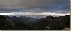 02 Morning light over Bright Angel Canyon from Lodge GRCA AZ pano (800x351)