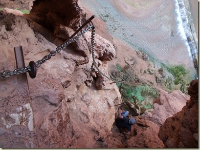 06 Jake using chains along trail down to base of Mooney Falls Havasupai Indian Reservation AZ (800x600)