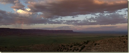 02 Rainbow over Vermilion Cliffs & sunset over House Rock Valley AZ (1024x414)