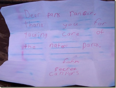Dear park RanGer note from Secret campers at campground amphitheater North Rim Grand Canyon National Park Arizona