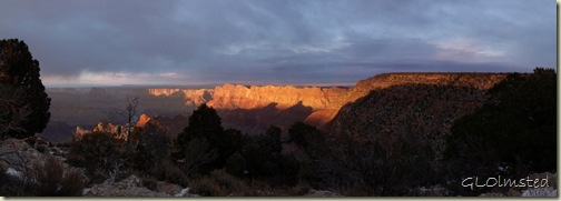 Last light on canyon walls Lippan Point South Rim Grand Canyon National Park Arizona