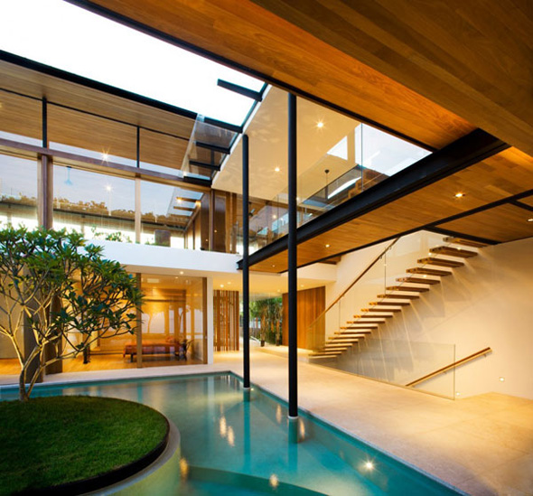 amazing garden inside residence architecture design