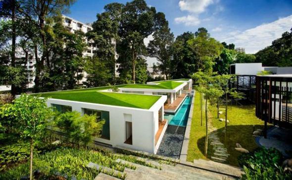 zig-zag green roof top house design ideas