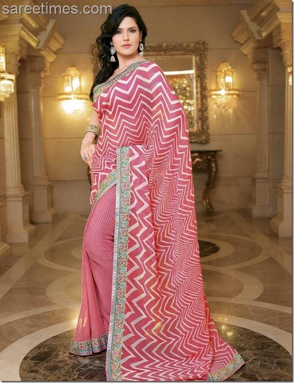 Zarine-Khan-Pink-Designer-Sari