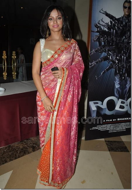 Neetu-Chnadra-Saree-Robot-audio-Launch