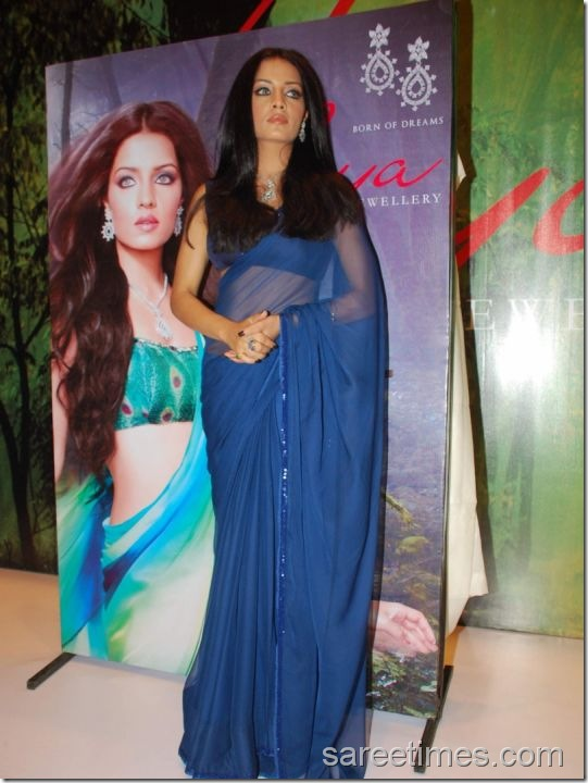 Celina-Jaitely-Plain-Blue-Sari