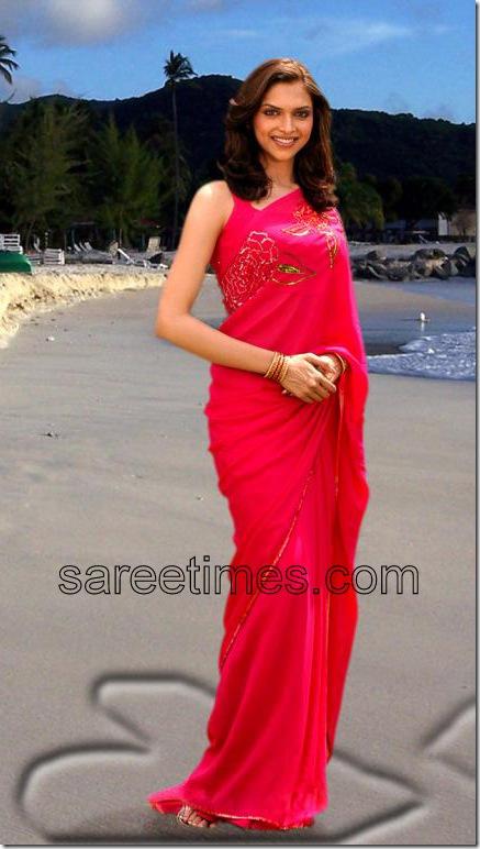 deepikapadukone-Pink-Designer Saree
