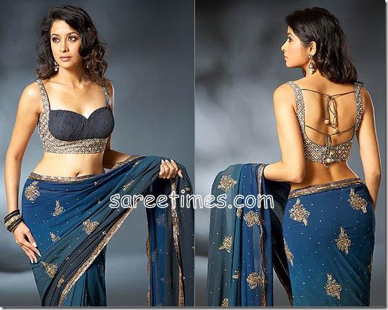 blue saree black