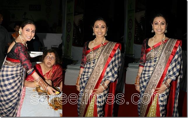 Rani-Mukherjee-Sabayasachi-sari-Durga-Pooja