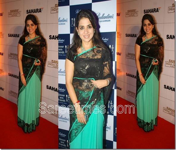 Shaina NC_Green_Black_Sari