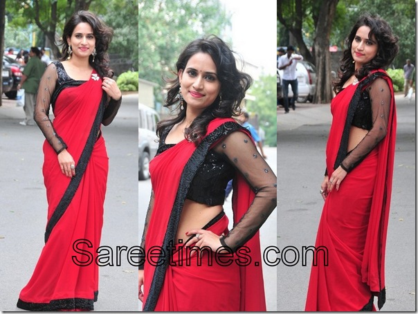 Chinmayi_Red_Designer_Saree