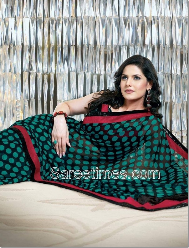 Zarine_Khan_Green_Sari