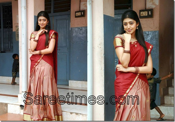 Pranitha_Red_Half_Saree
