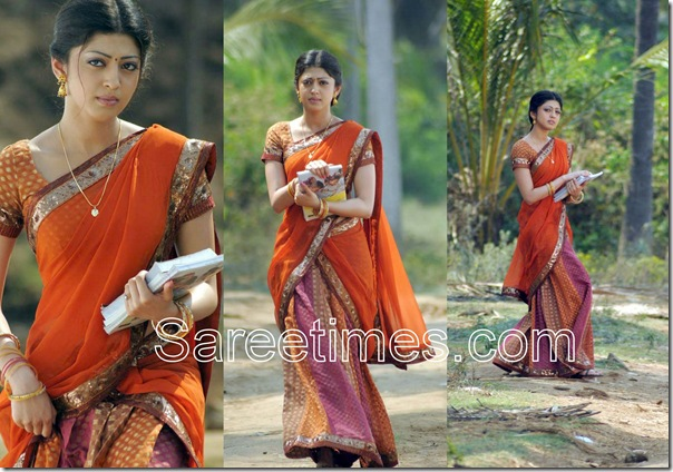 Pranitha_Orange_Half_Saree