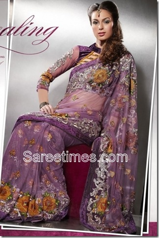 Lilac-Violet-Embroidered-Indian-Saree