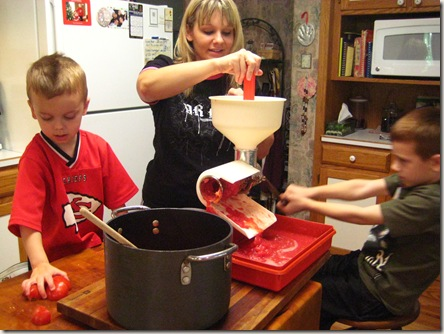 Austin, Julie and Dakota making salsa