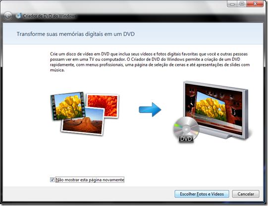 Apresentação do Criador de DVD do Windows 7