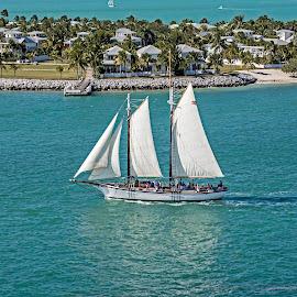 SAILING OFF OF KEY WEST by Walter Carlson - Transportation Boats ( water, sailing, blue, islands, sea, boat, sail boat, masts )