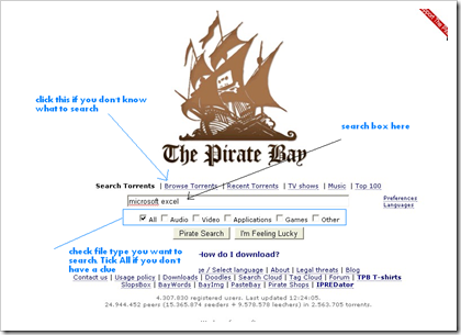 search torrent in piratebay