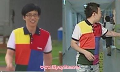 Yoo Jae Suk และ Park Myung Soo ใส่เสื้อยืดคู่กัน
